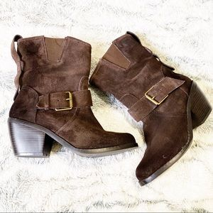 Dolce Vita Brown Suede Mid calf Moto Pull on boot